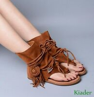 Womens Suede Leather Shoes Roman Gladiator Lace Up Boots Summer Tassel Sandals