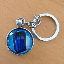 TARDIS Blue Police Box Doctor Who Keychain key ring Silver Gallifrey Timelord