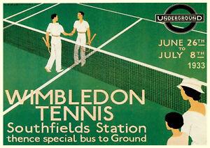 "Vintage ""Wimbledon 1933"" Reproduction Poster, Home Wall Art, Print"