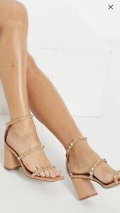 Asos Design Wide Fit Tan Beige Size 5 Studded Sandals Brown