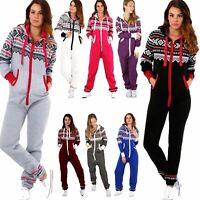 Aztec Onesie Hooded Fleece Plain Playsuit Jumpsuit All In One Gerber Womens
