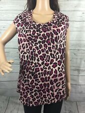 INC Pink Leopard Print Sleeveless Blouse Large Sexy Rayon Draping Neckline Shirt