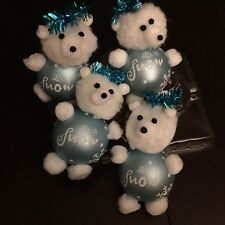 "Christmas Ornament Set Of 4 Glass Bear Bulbs Blue & White ""Let It Snow"""