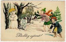 Snowman, Children Throwing a Sad Snowman with Snowballs, Old Postcard