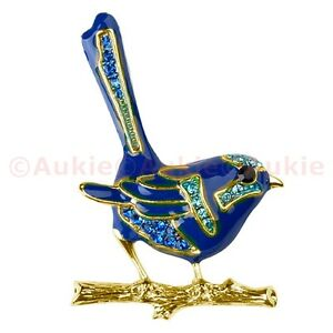 ONE Gold Enamel Blue Wren Brooch with Crystals