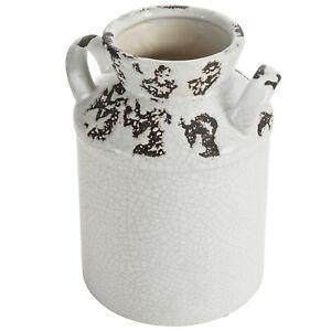 MyGift Antique Rustic White Ceramic Milk Jug Decorative Flower Vase with Handle