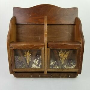 Vtg Wall Mount Wooden Key Holder Mail Letter Organizer Glass Decorated Farmhouse