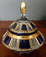MOSER Glass Cobalt Blue Cut To Clear & Gold 7 Paneled & Lidded Candy Dish 1900's