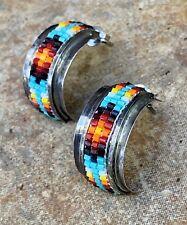 Vintage Native Navajo Beaded Half Hoop Sterling Silver Earrings
