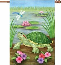 "Turtle Dragonfly Lily Pad Flower Pond House Flag Large 40"" x 28"""