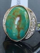Gem Insider® Sterling Silver 18 x 13mm Oval Turquoise & White Topaz Ring Size 8