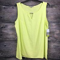 NEW Valerie Stevens Size Large Tank Top Linen Blend Lime Green Blouse Shirt NWT