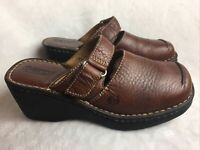 Born Women's Size 7 M Mary Jane Mules Clogs Wedge Square Toe Brown Leather Shoes