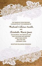 Wedding Invitations Burlap Lace Rustic Country  - 50 Invitations & RSVP Cards