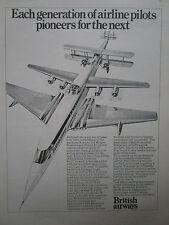 3/1974 PUB BRITISH AIRWAYS AIRLINE PILOTS CONCORDE AIR TRAINING ORIGINAL AD