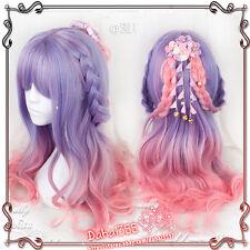 Wig Cos Harajuku Gothic Lolita Purple Pink Mixed Gradient Princess Curls Fairy