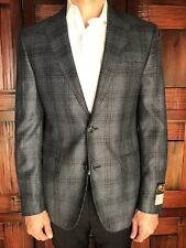 Mens Nordstrom 100% Cashmere Blue Plaid Slim Fit Blazer Size 40R New $899