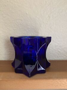 "Studio Nova Cobalt Glass Candle Holder Japan. 2-1/4"" Tall"