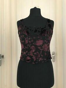 Vintage-looking Gothic Corset Style Black Velvet Floral Top fits UK12-14