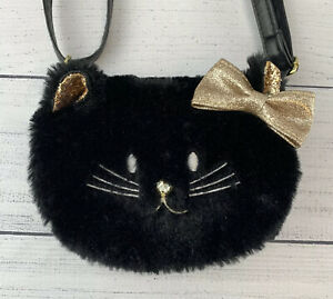 "Claire's Fury Black Cat Girls Purse Gold Glitter Accents Rhinestone Nose 5""x 7"""