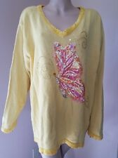 QUACKER FACTORY Sequin Yellow Butterfly Theme Sweater Plus Size 2X
