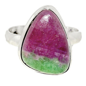 African Ruby With Zoisite 925 Sterling Silver Ring Jewelry s.10 BR85226