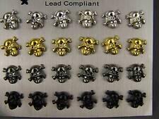Set pack of 12 pair all entirely plastic skull bones stud post earrings no metal