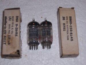 2 MATCHED GE JG 5751 12AX7 RADIO VACUUM TUBES, TESTED