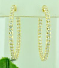 earring snap closure 2.50 ct hoop 14k Solid Yellow Gold Natural hoop Diamond