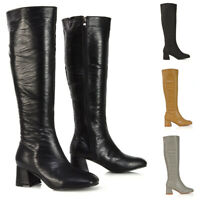 Womens Knee High Boots Ladies Zip Block Low Heel Casual Winter Long Shoes