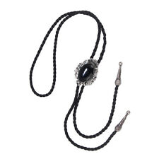 Mens Antique Silver Black Stone PU Leather Rope Bolo Neck Tie Cowboy Gifts