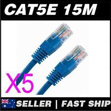 5x 15m Cat 5 5E Cat5 Cat5E Blue  Ethernet Network LAN Patch Cable Lead