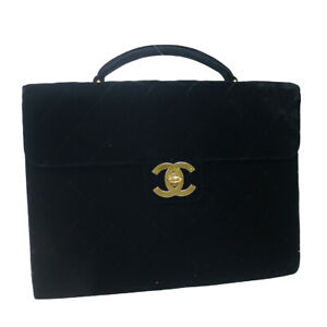 CHANEL Quilted CC Briefcase Business Hand Bag Balck Velvet 2869610 38311