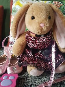 Build a Bear Plush and accessories for girls bunny pink with shoes leash brush