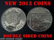 PAIR OF DOUBLE SIDED 10p COINS - HEADS & TAILS - HEADED &TAILED