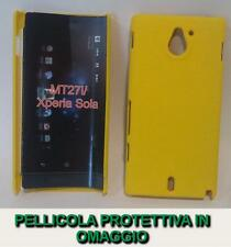 Pellicola + custodia BACK cover RIGIDA GIALLA per Sony Xperia sola MT27i
