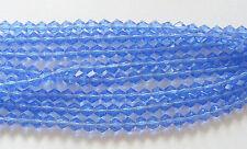 1 Strand Glass Bicone Beads - Medium Blue -4mm