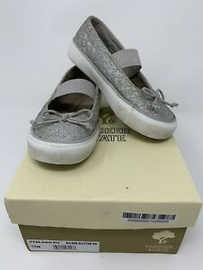 Nordstrom Tucker And Tate Girls Sparkle Silver Glitter Sloan Mary Janes Size 10