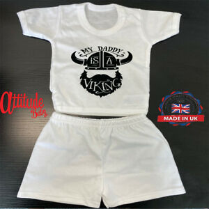 Baby Shorts & T Shirt-Printed On White-Daddy Is A Viking-Printed Baby Clothes-