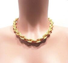 """Vintage Monet Signed Mesh Braided Gold Tone Necklace 16 to 18"""" NOS"""