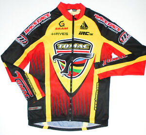 RACE FACE Long Sleeve Cycling Jersey TOMAC Full Zip YELLOW/RED/BLACK Mens MD 4