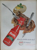 1958 Hunt's Tomato Catsup Ad What do Steaks Sizzle For?