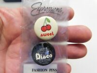 "Sweet/Disco  2 on Card Vintage 1"" Slogan/Saying Pin-Back Button"