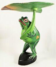 Wood Frog Leaf Figurine Animal Figure Green Hand Painted Folk Lily Pad Umbrella