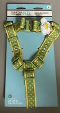 Martha Stewart PETS Step-In Dog Harness Size LARGE Flower Bow Green Polka Dot