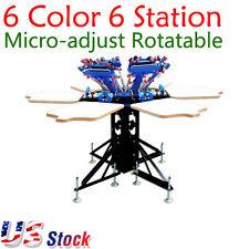 US - 6 Color Manual Screen Printing Press 6 Station Micro-adjust Machine