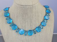 Antique Art Deco Robin Egg Blue Glass Bezel Set w/ Baguettes Choker Necklace