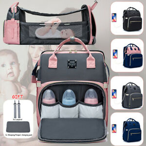 Baby Diaper Bag Backpack with Changing Station Bassinet Bed Mat Pad Insulation