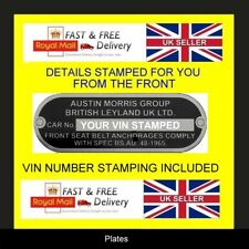 AUSTIN MORRIS BL CARS MINI  ID ALL-BLANK-VIN-CHASSIS-PLATES STAMPED FOR YOU