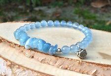 Lotus Armband Aquamarin Jade Silber Blau Mala Armband
